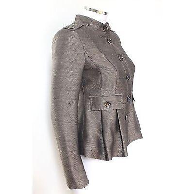 Burberry Grey Metallic Woven Peplum Jacket  uk 8