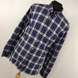J-Crew-L-Large-Shirt-Purple-Black-Plaid-Button-Down-Front-16-16-5-Mens-L-S-E1M