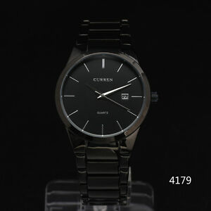 curren classic all black stainless steel band day mens date luxury image is loading curren classic all black stainless steel band day