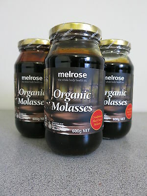 Melrose Organic Molasses 600g (Unsulphured Black Strap Molasses) - 3 Bottles