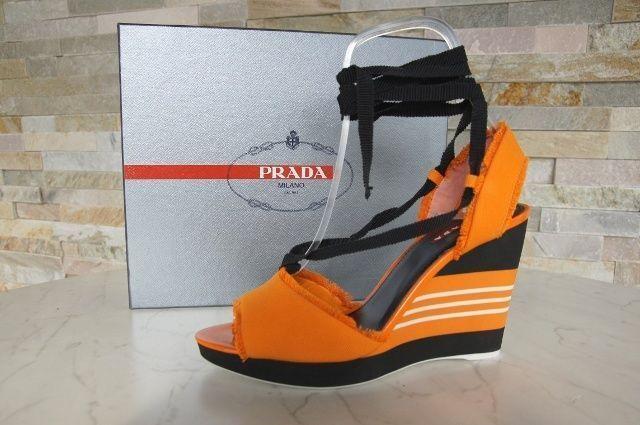 Prada cuña plataforma sandalias sandals zapatos Shoes naranja nuevo PVP
