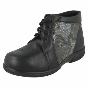 Ladies Black B Detail Boots Easy Snake Donna Casual With Skin r46rUqw