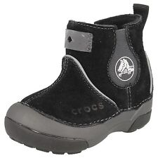 Baby girls Crocs Black suede leather ankle boots      DAWSON