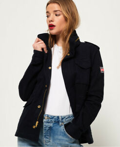 Image is loading New-Womens-Superdry-Rookie-Classic-Military-Jacket-Midnight 1d1c76da3