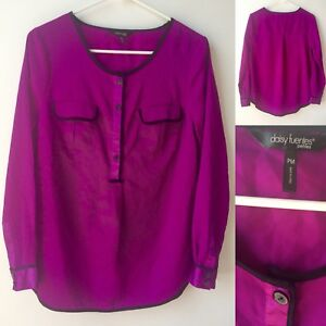 5618b689765313 Daisy Fuentes Petite Women Purple/Black Long Sleeve Blouse Sz PM | eBay