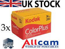 3 Pack Kodak ColorPlus 35mm 36 Exposures ISO 200 Color Negative Film, New