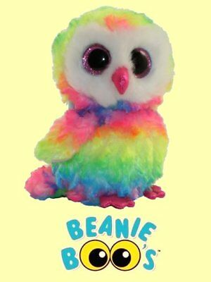 """FROM OUR  AVIARY STOCK Ty® 6/"""" Owen Beanie Boo/'s® Small Rainbow Colored Owl"""