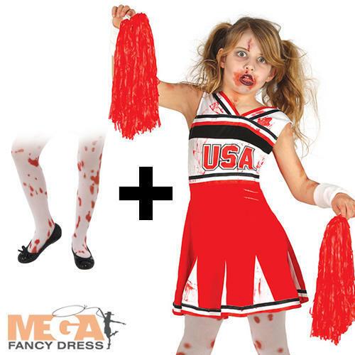 Tights Girls Fancy Dress Halloween Horror Kids Costume Zombie Cheerleader
