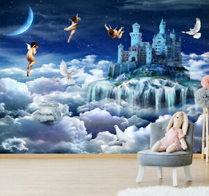 3D-Wall-Murals-Wallpaper-Cupid-Castle-Clouds-Kid-039-s-Bedroom-Painting-Photo-Decor