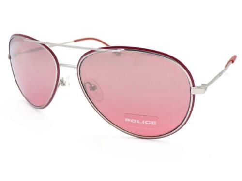 Police-GLORY Argento Occhiali da sole Rosso Mattone//rose silver Mirror Lenti S8299 Q05X