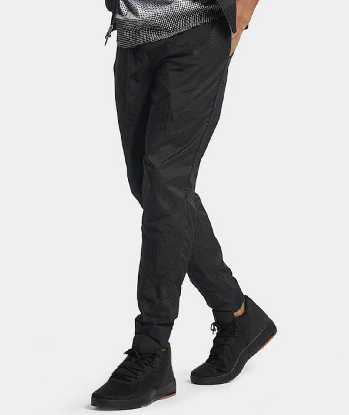 886c60fd8972 Nike Air Jordan Wings Woven Athletic Pants Tapered Black Mens Size ...