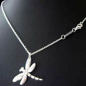 ASAMO-Damen-Halskette-mit-Libellen-Anhaenger-925-Sterling-Silber-plattiert-H1011