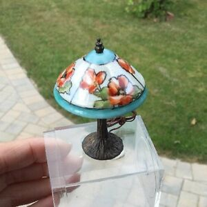 Ni-Glo-Hand-Painted-Porcelain-Lamp-Luster-Red-Poppies-NiGlo-Dollhouse-Miniature
