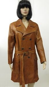 Vtg-1970s-Classic-Brown-Leather-Double-Breasted-Belted-Spy-Trench-Coat-Sz-M
