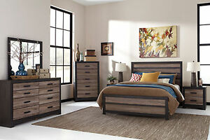 Modern Design Two Tones Brown Finish 5 pieces Bedroom Set w/ King Panel Bed IA2A