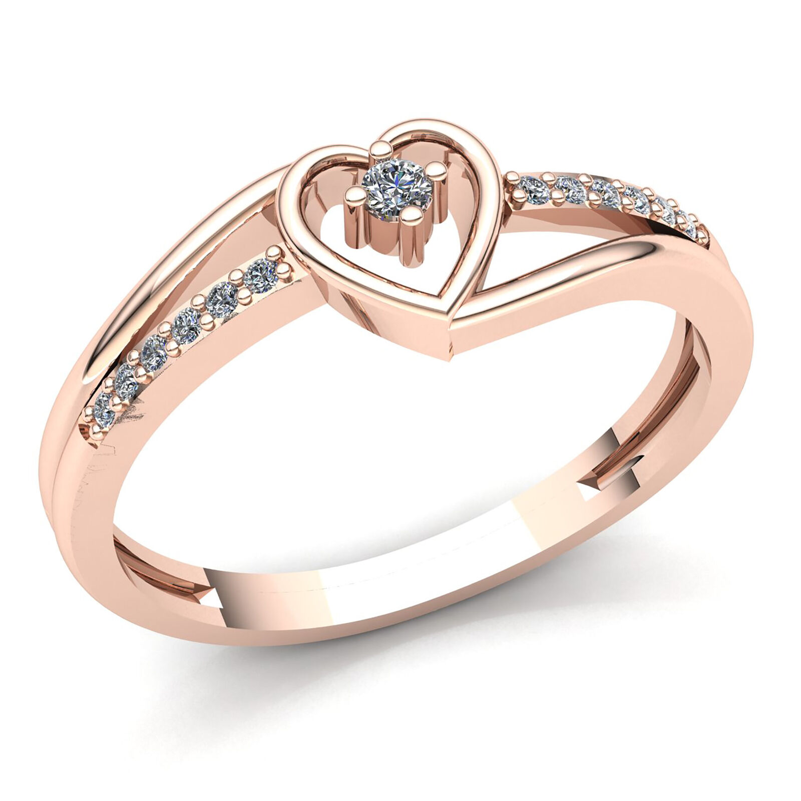 1ct Round Cut Diamond Ladies Twisted Heart Bypass Engagement Ring 10K gold