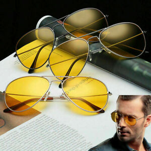 UV400-Men-Sunglasses-Driving-Night-Vision-Sun-Glasses-Yellow-Lens-Aviator-Unisex