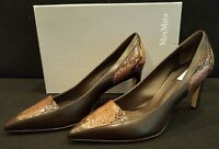 Max Mara Vero Cuoio Heels Pumps-leather Dark Brown And Snakeskin Size 38/8