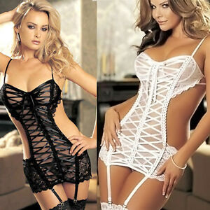 d1a16cf729 Women Lingerie Lace Dress+G-string+Stockings Set Babydoll Sleepwear ...