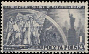 POLOGNE-POLAND-1938-Mi-326-1Zl-150th-Anniversary-US-Constitution-Mint-Hinged