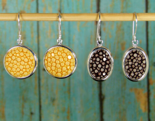 Special Purchase Choice Brown or Yellow Genuine Stingray Earrings 925 Sterling