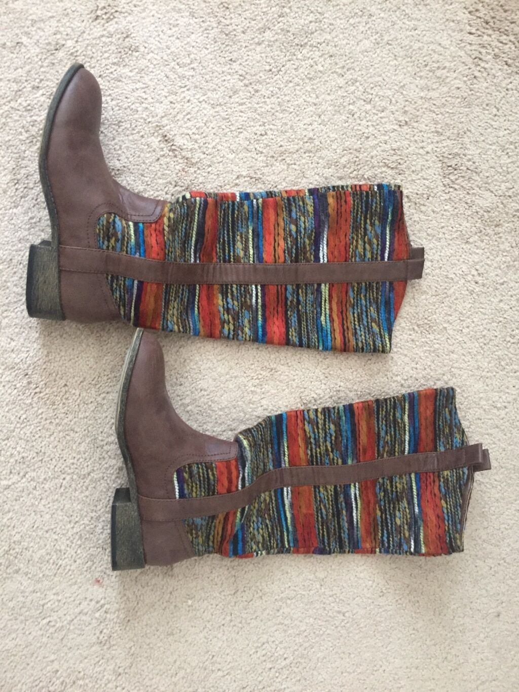 Womens color print Knee High Riding Brown Brown Brown Boots Size 6.5 710e2b