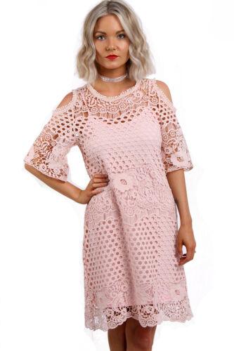 Ladies Women URBAN MIST Cold Shoulder Lace Crochet Tunic Dress Matching Cami Top