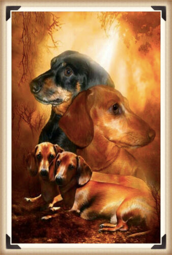 UK Four Dogs Full Drill 5D Diamond Painting Embroidery Cross Stitch Kit Decor EA