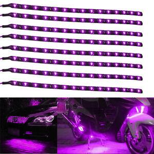Lot8-Purple-15-LED-30CM-Car-Grill-Flexible-Waterproof-Light-Strip-SMD-12V-Sales