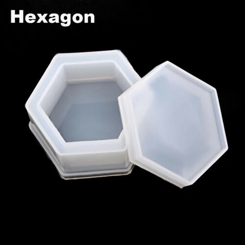 Hexagon Round Epoxy Resin Storage Box Molds Silicone Casting Mould Crystal Glue