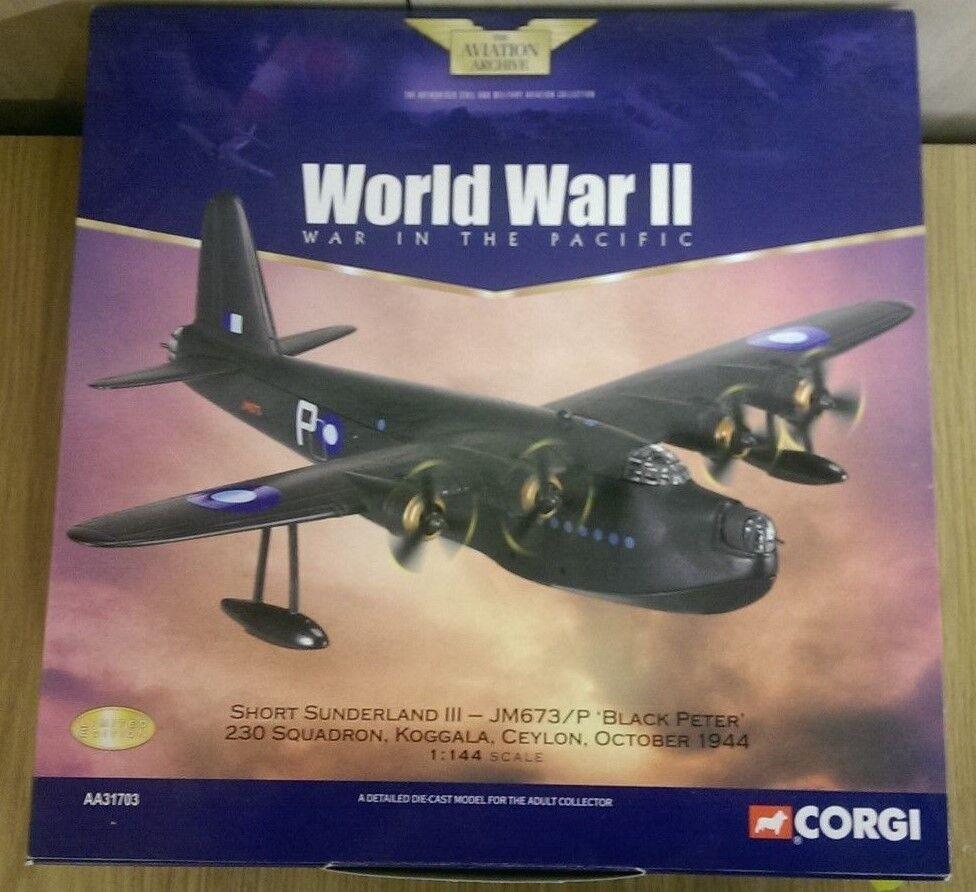 CORGI AA31703 SHORT SUNDERLAND III Noir Peter Ceylan 1944 LTD ED. 0001 de 2300