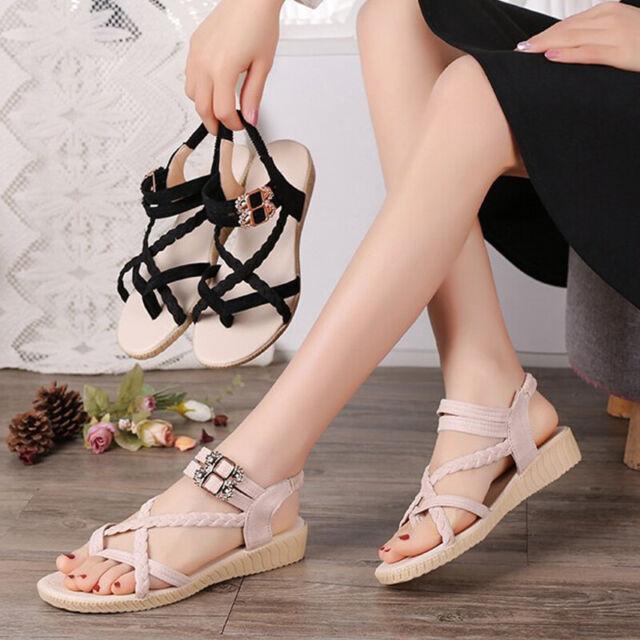 Women's Summer Fashion Flat Open Toe Buckle Shoes Outdoor Thong Sandals