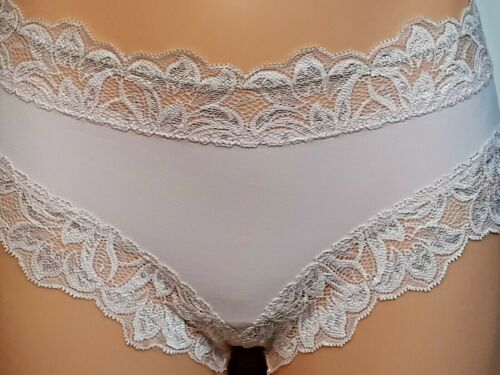LARGE PALE PINK FLORAL HIPSTER MIDI BRIEF Pretty Brazilian knickers size 14-16