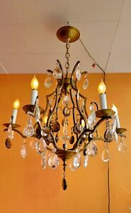1930-ART-DECO-BRONZE-CHANDELIER-6-ARMS-CENTER-CAGE-WITH-CRYSTAL-SPIKE-AND-BALL