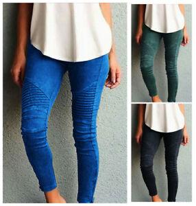Womens-High-Waist-Trousers-Stretch-Pencil-Pants-Slim-Skinny-Leggings-Plus-Size