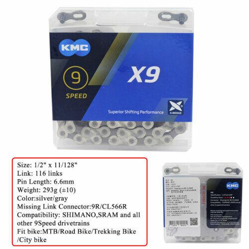 "KMC Bike Double /""X/"" Bridge 116//118 Links Steel Chains Fit 6-11 speed Drivetrains"
