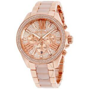 Details about Michael Kors MK6096 Women's Wren PavŽ Acetate 41mm Case Rose Gold Wrist Watch