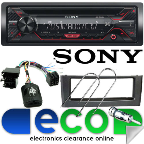Fiat Grande Punto SONY CD MP3 USB Aux Car Stereo Steering Wheel & GREY Facia Kit