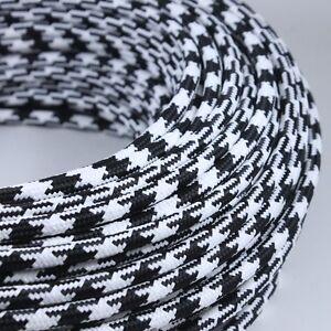 Cable Electrique Noir Blanc Textile Tissu Rond Normes Ce 2075mm