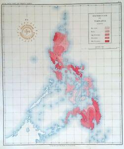 PHILIPPINE-ISLANDS-EARTHQUAKES-DISTRIBUTION-1899-Original-Antique-Map