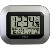 La Crosse Atomic Wall Clock Wireless Outdoor Temperature Sensor Indoor Silver