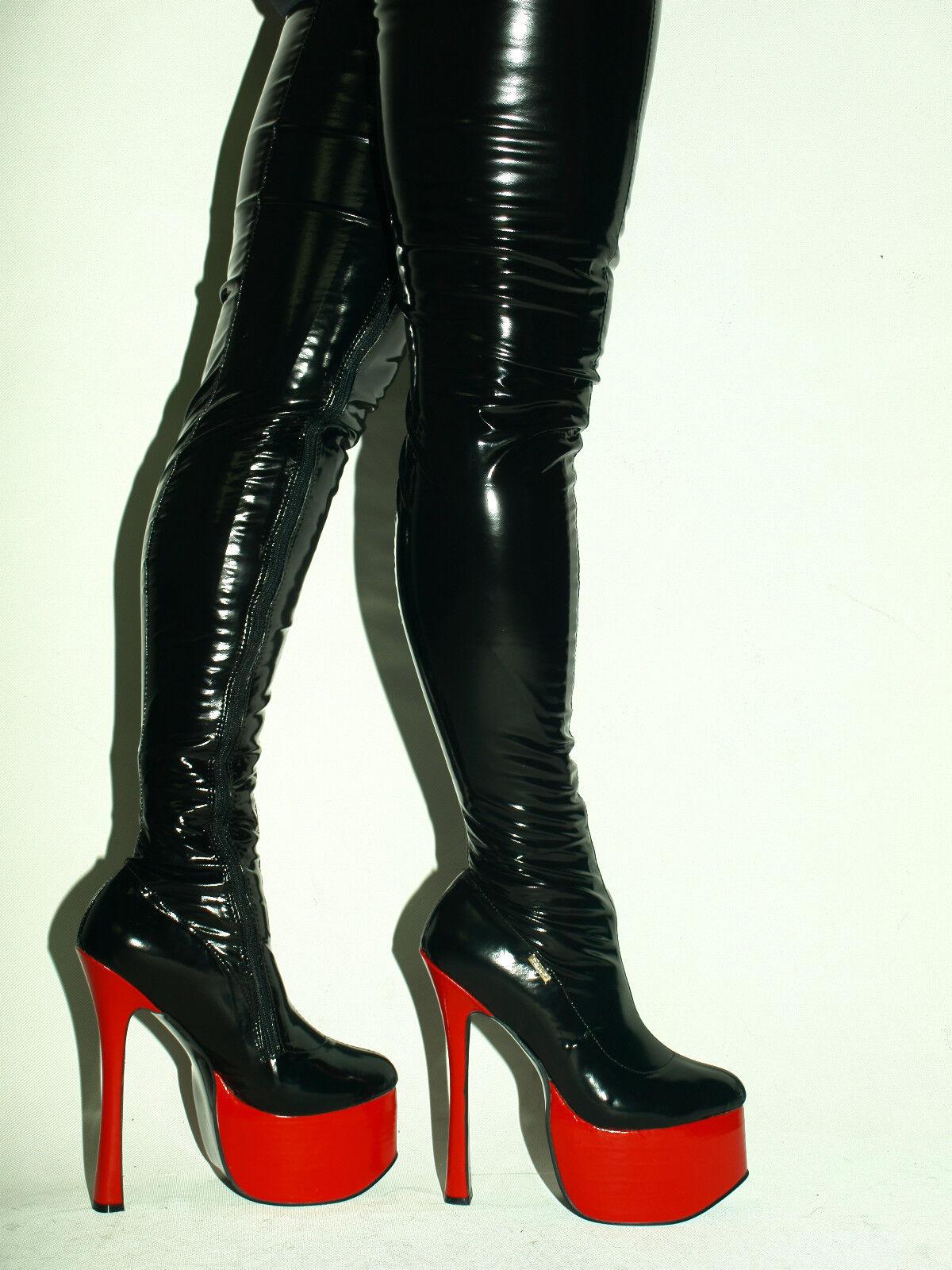 Promoción  fetiche de goma de látex botas talla talla talla 4-12 Tacos Plataforma 8 cm 20 cm Polonia  Venta en línea de descuento de fábrica