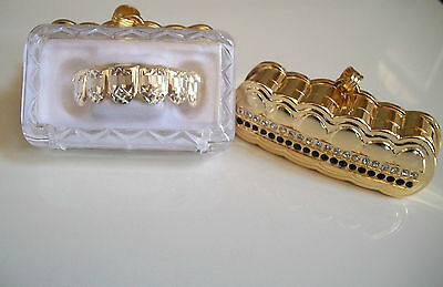 Gold Finish For Bottom Teeth Laser Cut Grillz With Holder #Cut 3-S001-FHG