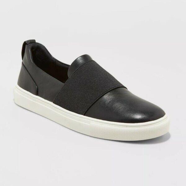 A New Day Women's Marisol Sneakers Slip On Black 9 or White 8 NIB