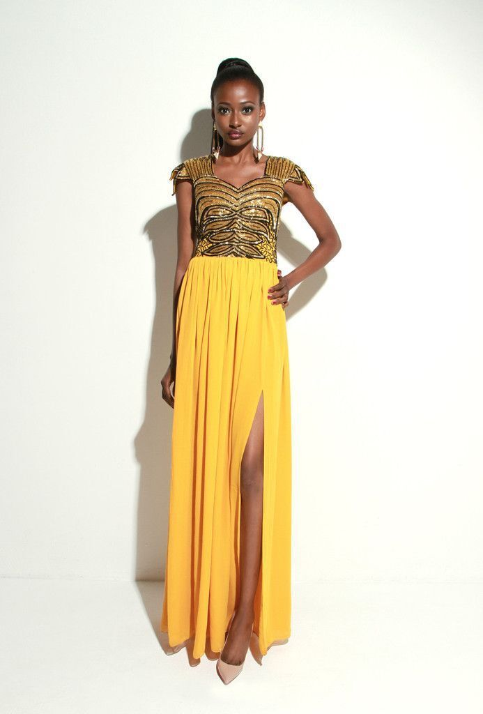 Virgos Lounge Mustard Embellished Maxi Party Dress 8 36 Sweetheart Cocktail New