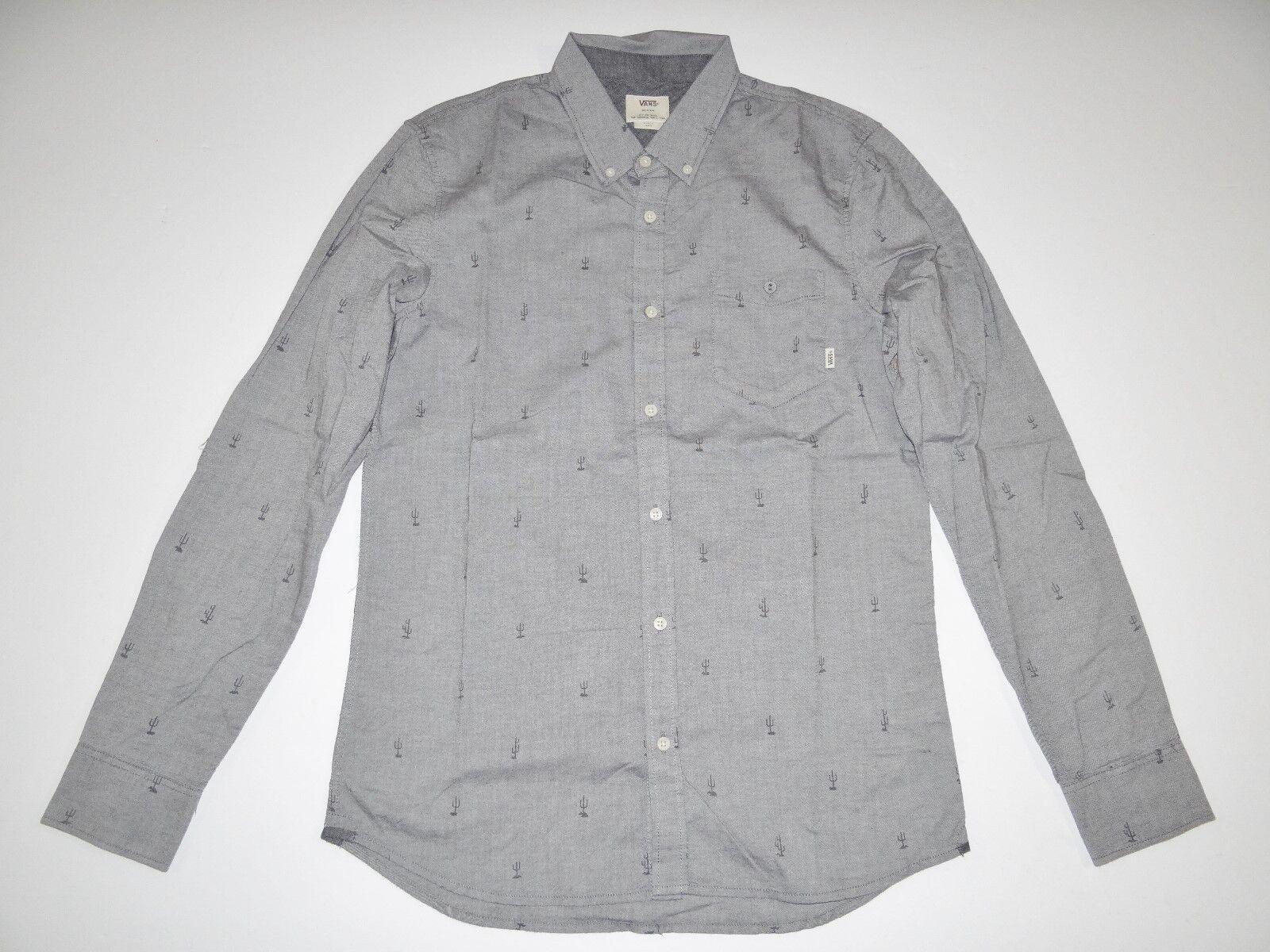 New Vans Mens Houser Long Sleeve Button Up Cotton Casual Shirt Medium