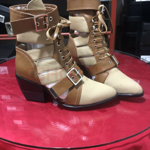 Womens Retro cut out pointy Toe ankle short Leather Boots cuban heels shoes New