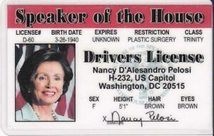 Details about Speaker of the House Nancy Pelosi Drivers License - Karate -  fun fake i d  card