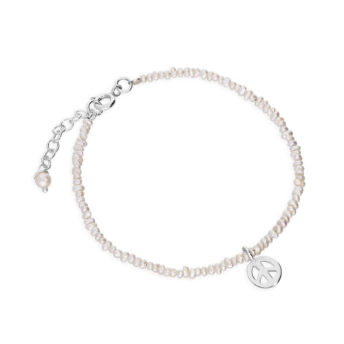 Real 925 Sterling Silver /& Freshwater Pearl Peace Symbol Bracelet 8 Inches