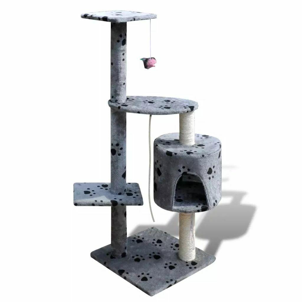 vidaXL Casina ad albero Tiragraffi per gatti 114 cm 1 posto Grigio con impronte